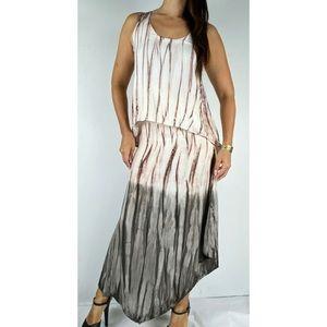 XCVI Pink Grey Tie Dye Maxi Dress Size XS AU 6-8
